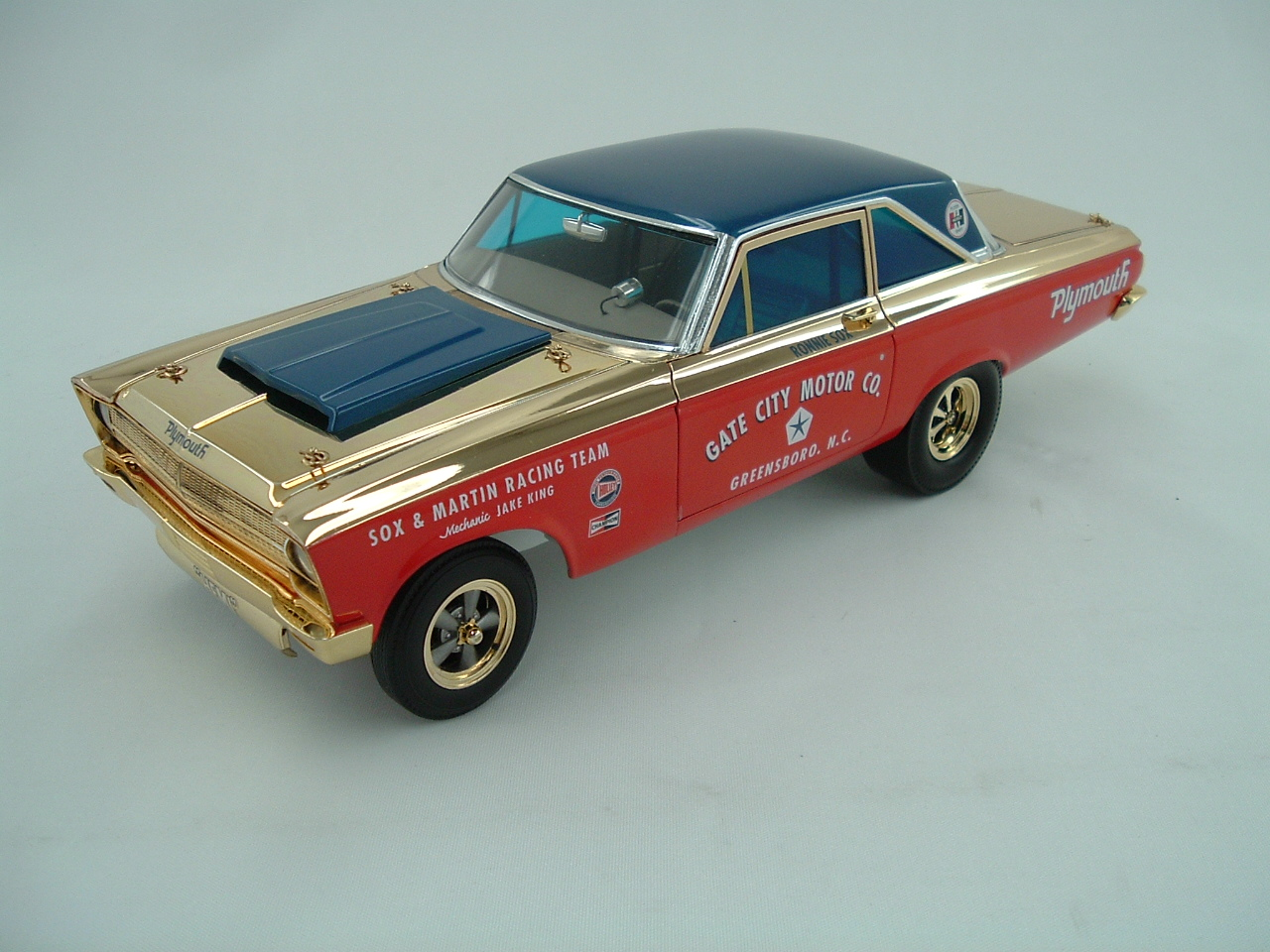 Supercar Collectibles Ultra Rare GOLD Plated Sox & Martin '65 Plymouth