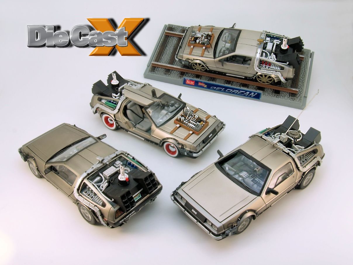 "NEW VIDEO: Sunstar's 1:18 ""Back to the Future"" DeLoreans"