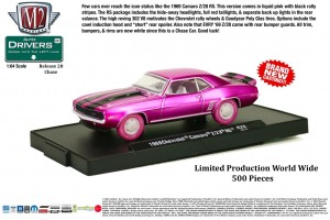 Drivers Release 28 - CHASE CAR - 1969 Chevrolet Camaro Z-28 RS - Liquid Pink with Black Z-28 Stripes - World Wide Production - 500 pieces - Final Image