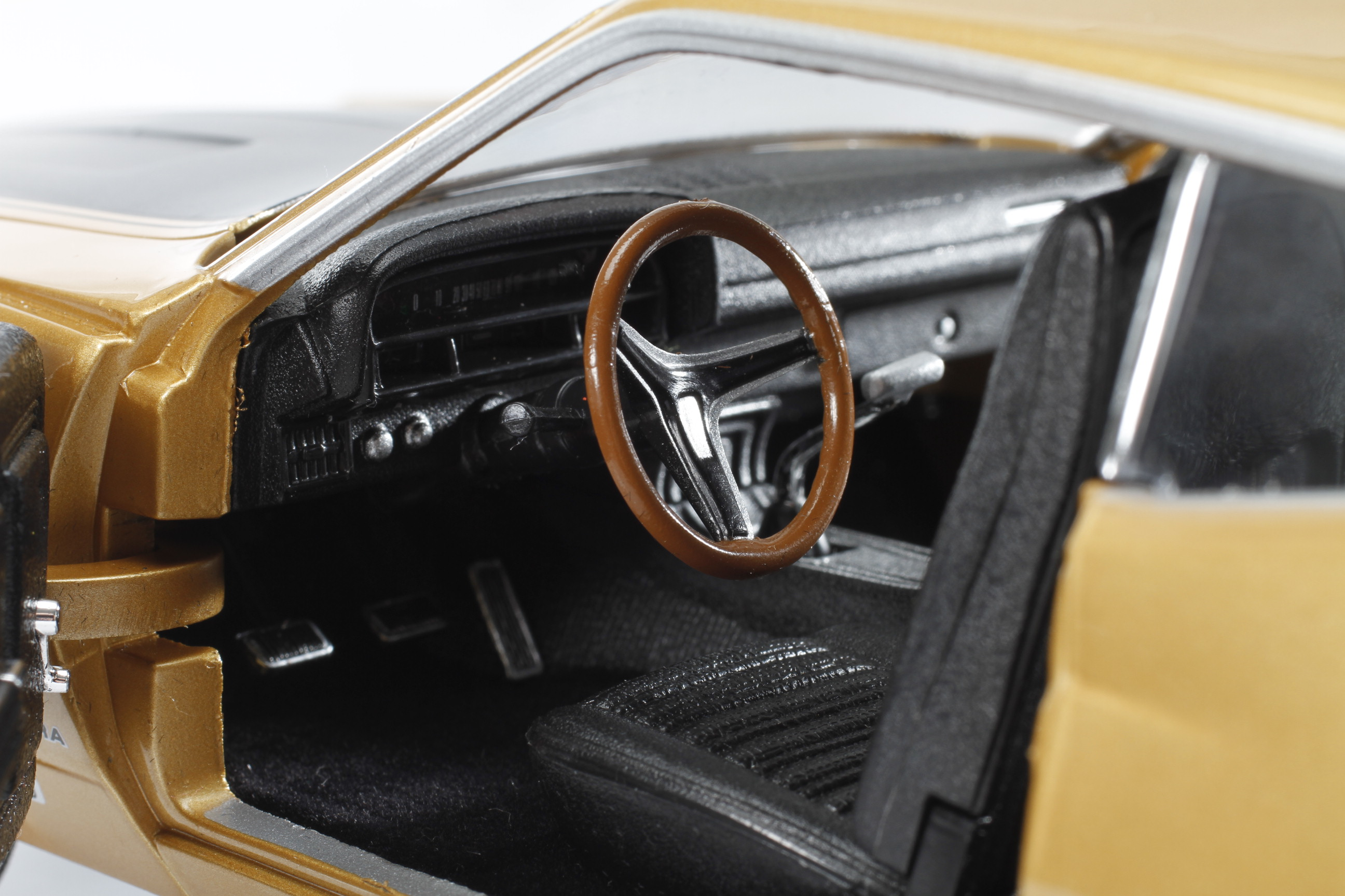 Autoworld 1970 Ford Torino Cobra Fanged Fastback Online Gt The Interior Depicts Fords Black Comfortweave Upholstery Seats Are Hard Plastic With Appropriate Texture And Seat Backs Fold