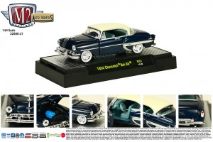 Auto-Thentics Release 31 - 1954 Chevrolet Bel Air - Biscayne Blue Metallic body with India Ivory Top and Insert - Final Image