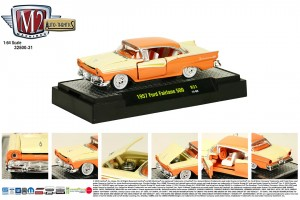 Auto-Thentics Release 31 - 1957 Ford Fairlane 500 - Coral Sand body with Colonial White middle and Gold spear - Final Image