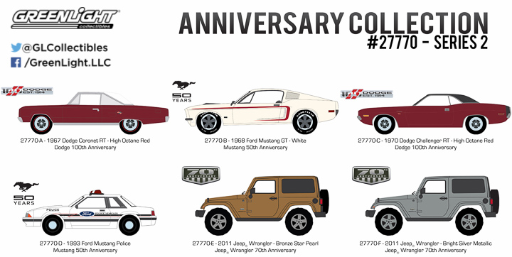 Dodge, Jeep and Mustang Anniversary Specials in 1:64