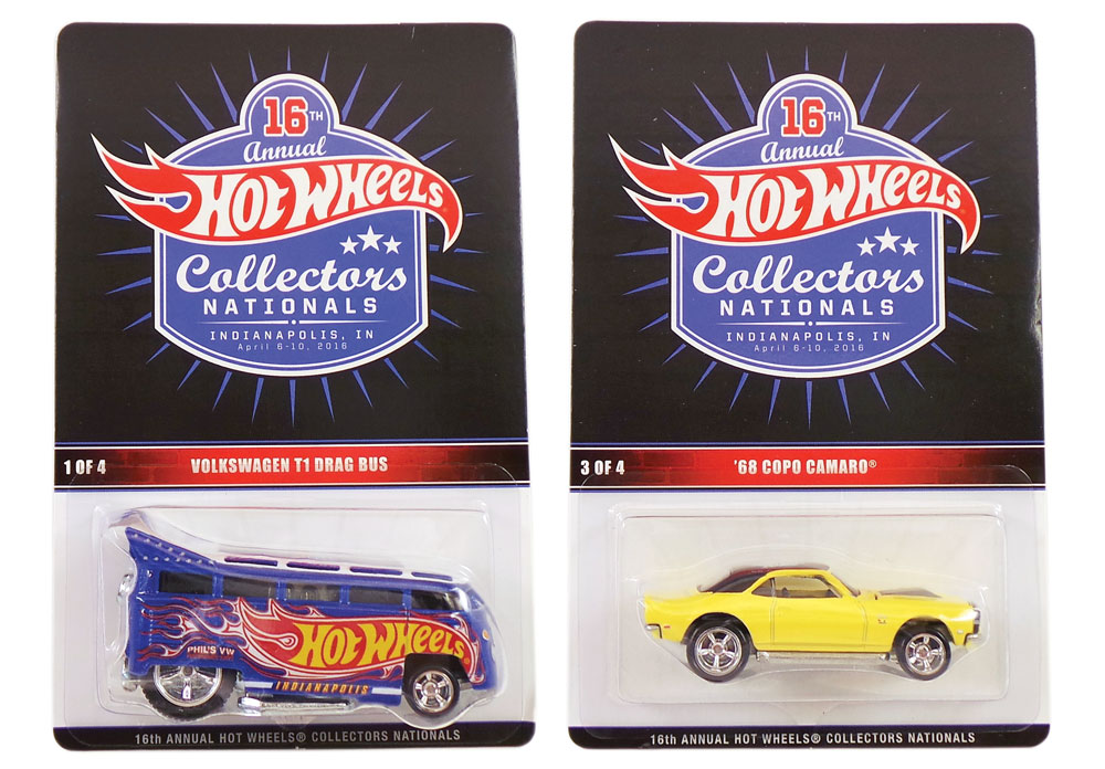 Among the special limited-edition event cars from the 16th Annual Hot Wheels Collectors Nationals were the yellow '68 COPO Camaro and the Volkswagen T1 Drag Bus.