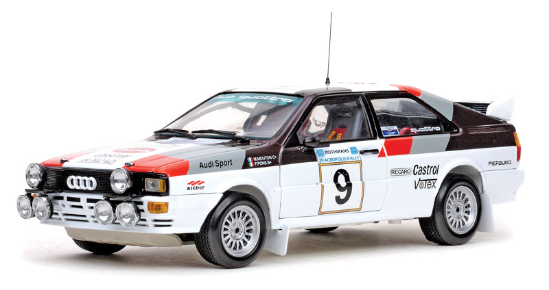 Audi was first to exploit the Group B rules with its A1 Quattro coupe in 1982–83. Sun Star does a pair of nice replicas in 1:18.