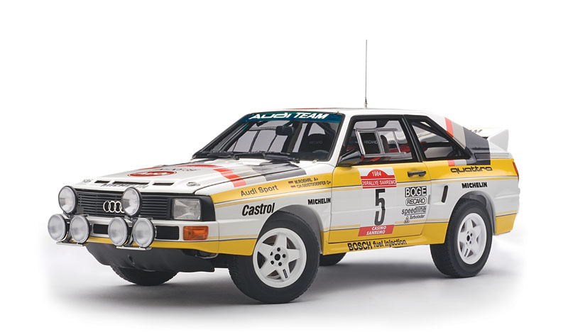 As the quality of competition steadily improved, Audi introduced the Sport Quattro S1—a lighter coupe riding on a wheelbase more than a foot shorter. AUTOart does S1s from '84 and '85 in 1:18.