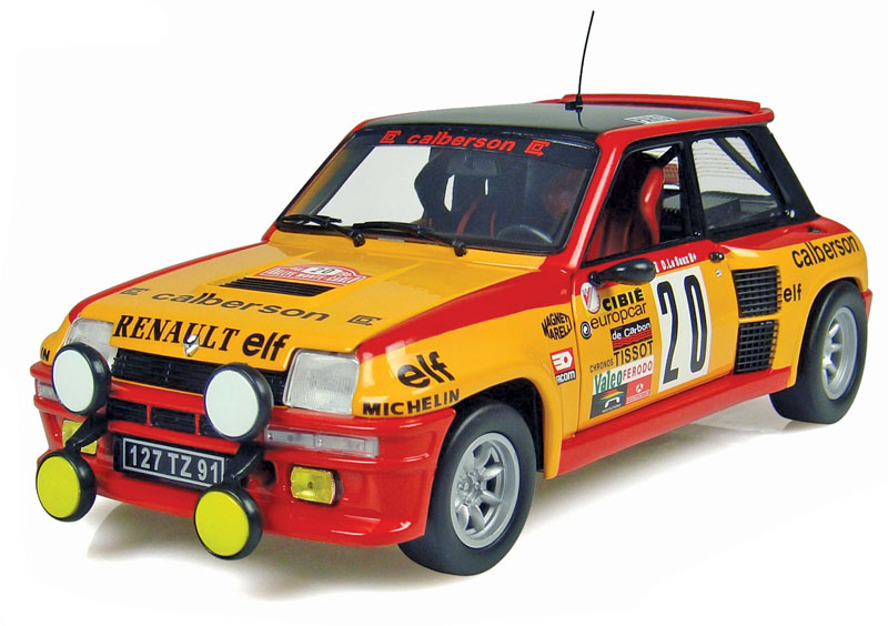 Diecast examples of Renault 5 rally cars are scarce, but Revell and Universal Hobbies made them in 1:18.