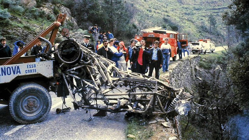 Ever-escalating speed and danger finally took its toll in Corsica when one of Lancia's top teams, Henri Toivonen and Sergio Cresto, were killed in a fiery crash. There was little left of the car but a bare tube frame. The FIA called a halt to development and announced that Group B would go away at season's end, to be replaced by slower (and presumably safer) Group A cars.