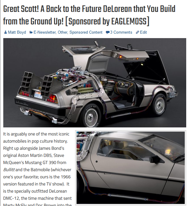 Back to the Future, DeLorean, Time Machine, Giant Scale, 1:8 scale, 1/8 scale, flux capacitor, Marty McFly, Doc Brown