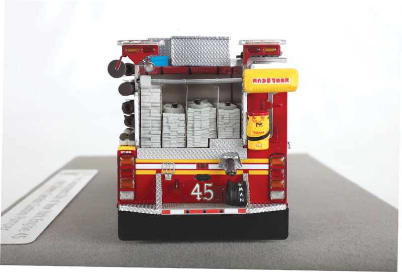 Fire Replicas FDNY Engine 45 KME Severe Service Pumper - rear view