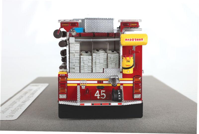 Fire Replicas FDNY Engine 45 KME Severe Service Pumper - rear view