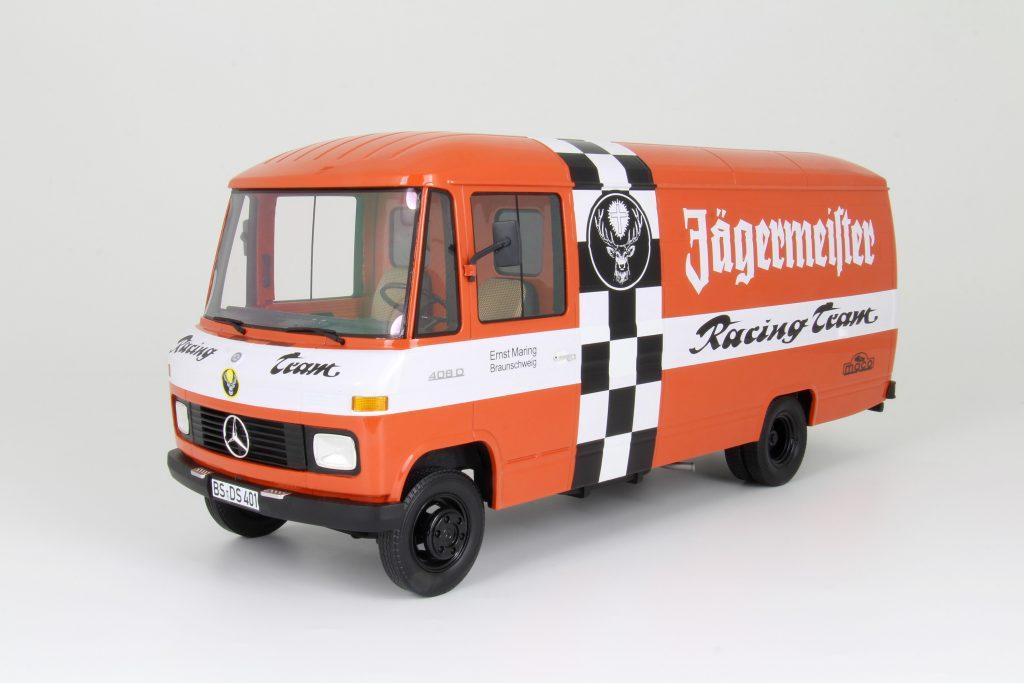 "Mercedes-Benz, ""Jägermeister"" Kastenwagen, Race Team, Race Hauler, 1:18, diecast, resin"